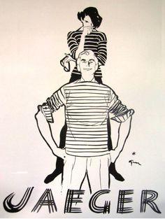 Jaeger - vintage ad from 1953 issue of British Vogue, by René Gruau Jacques Fath, Marie Claire, Elsa Schiaparelli, Pierre Balmain, Dior, Vintage Ads, Vintage Posters, Vogue, Illustrations
