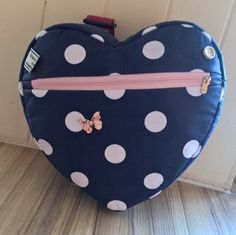 girl's navy blue polka dot heart backpack, day bag, holiday bag, school bag. by grannyhodgesewing on Etsy