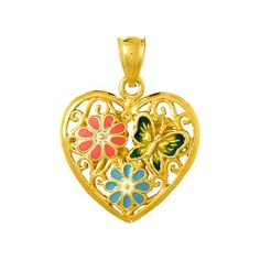 Amazon.com: 3d Gold Charm Heart With Enamel Butterfly & Flowers - Reversible: Million Charms: Jewelry