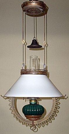 Antique 14in. Slant Shade & Brass Hanging Oil Lamp (Image1)