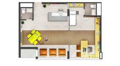 Planta de uma unidade de 61,82 m²  com sugestão de decoração para um consultório de Pediatria