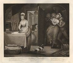 Plate the 1st; a young woman calmly ironing at a table to left with an 'Almanack' pasted to the wall above the hearth and washing drying on a frame behind her, her fellow servant on the right dallying with three men who cling to her, with a dog barking at a kitten that scratches at her hem, upturned mop and bucket, pails and a torn announcement of the 'State Lottery' pasted on the wall behind her 1797