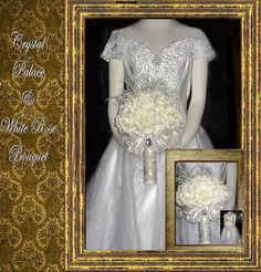 Crystal Palace White Rose Bouquet by whiteriver51 on Etsy, $345.00