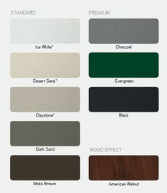 This type of garage doors repair can be a very inspiring and glorious idea Garage Door Colors, Diy Garage Door, Garage Door Design, Garage Door Repair, Possible Combinations, White Charcoal, American Walnut, Green And Grey, Inspiration