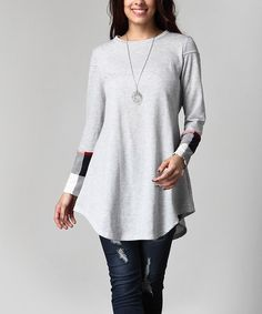 Loving this Gray Contrast Sleeve French Terry Sweatshirt - Plus on #zulily! #zulilyfinds