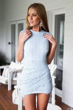 Light Blue Lace Bodycon Mini Dress   USTrendy