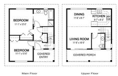Oakhill cabin plan on 2 levels 2 bedrooms with living on the second level 924 sq ft with covered porch