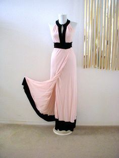 Vintage Pale Pink and Black Maxi Dress by by OmAgainVintageCloset, $45.00