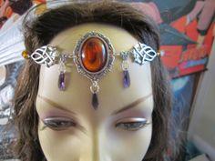 Amber Circlet of the Full Moon Celtic Druid LARP Bridal Renaissance Cosplay