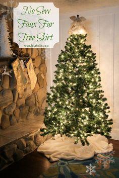 No sew faux fur Christmas tree skirt- Remodelaholic