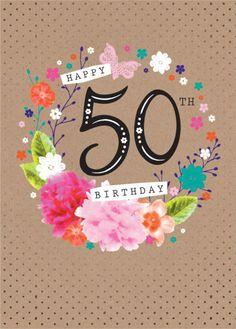 Debbie Edwards - Age Birthday Milestone Big Number 50 50th In Floral Wreath