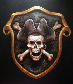 Every decent seadog needs a crest or very least an insignia t' be callin' his own. Makes sure yours communicates everythin' someone might need t' know if they's thinkin' on if th' ortin' ta ready th'. Deco Pirate, Pirate Art, Pirate Skull, Pirate Life, Pirate Theme, Pirate Signs, Sea Of Thieves, Black Sails, Pirate Wench