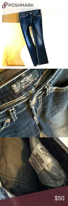 PERFECT Condition Silvers! Selling a Pair of PERFECT Condition Silvers! These Silvers have been hemmed to a 30 inch inseam, but can be let out to be the original 33 inch inseam. These are the suki cut, awesome dark wash! Size 28W 30L. Silver Jeans Jeans Boot Cut