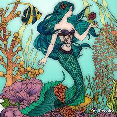 Mermaid Pose, Mermaid Diy, Fantasy Mermaids, Mermaids And Mermen, Adult Coloring Pages, Coloring Books, Mermaid Coloring Book, Mermaid Pictures, Your Spirit Animal