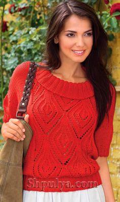 Красный ажурный пуловер с круглым воротником