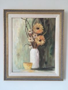 "Original on Canvas - Still Life Flowers in Vase - framed - signed by artist ""S. Derbecker"" x including frame Art Painting, Canvas, Still Life, Painting, Still Life Flowers, Painting Prints, Art, Prints"