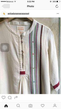 Summer outfit Blouse Neck Designs, Kurta Designs, Khadi Kurta, Tandoori Masala, Kurti Styles, Kurti Patterns, Indian Fashion, Womens Fashion, Linen Dresses
