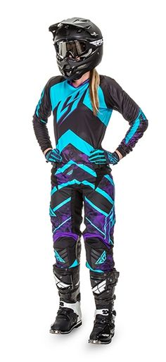 Kinetic Women 's Purple / Blue Racewear Bmx, Motocross Bikes, Motorcycle Gear, Womens Dirt Bike Gear, Womens Motocross Gear, Motocross Maschinen, Offroad, Quad Bike, Riding Gear