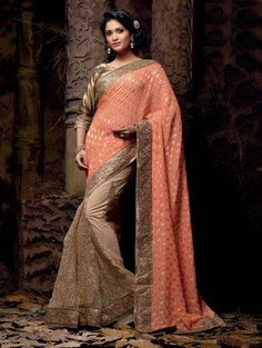 Pink and Beige Net Saree with Resham Embroidery Work