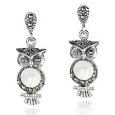 Night Owl Mother of Pearl and Marcasite Style Pyrite .925 Sterling Silver Stud Earrings -- Be sure to check out this awesome product. (This is an affiliate link and I receive a commission for the sales)