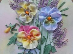 Pretty ribbonwork Pansies..