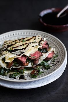 Crepes for grownups! Steak, Spinach and Mushroom Crepes with Balsamic Glaze. Spinach Stuffed Mushrooms, Stuffed Peppers, Crepe Recipes, Brunch Recipes, Pancake Recipes, Waffle Recipes, Breakfast Recipes, Brunch Menu, Pancake