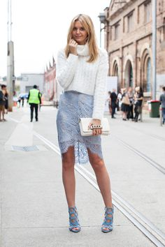 Toughen up a feminine, lace pencil skirt with a chunky, oversize knit up top. | AUSTRALIAN FASHION WEEK 2014 STREET STYLE PICTURES - PHOTOGRAPHED BY XIAOHAN SHEN. |