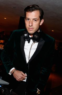 British producer Mark Ronson wearing Burberry tailoring at the Parker Foundation gala in Los Angeles