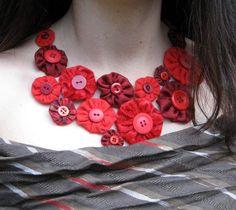 yo yo yo... what up? red scrap fabric Yo yo necklace - JEWELRY AND TRINKETS