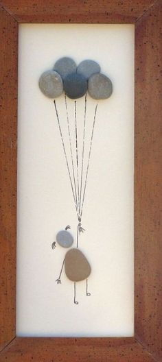 """Beach Pebble Art Stone Pictures """"Up, Up and Away"""" --rock art on Etsy Stone Crafts, Rock Crafts, Diy And Crafts, Arts And Crafts, Beach Rocks Crafts, Caillou Roche, Art Rupestre, Art Pierre, Pebble Pictures"""