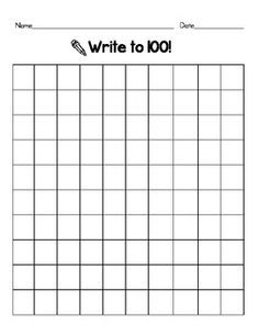 This is a basic 100-square grid to use for number games or simply to assess your students to see ...