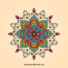 Mandala vectors, photos and psd files Mandalas Painting, Mandalas Drawing, Dot Painting, Mandala Design, Mandala Floral, Wall Art Designs, Design Art, Vector Design, Tattoo Knee