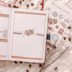 Coffee Theme Bullet Journal Set-up | Heraldeecreates Bullet Journal For Beginners, Creating A Bullet Journal, Bullet Journal Set Up, Bullet Journal Cover Page, Bullet Journal Tracker, Bullet Journal Themes, Journal Covers, Book Journal, Journal Ideas