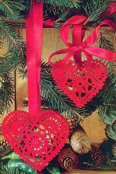 Tecendo Artes em Crochet: Corações Fofos para a Decor de Natal, com Gráficos...