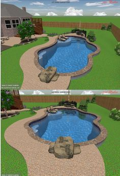 EXACTLY what I want! Instead of diving board - use large slab of rock to create diving platform AND integrate into rock retaining wall Lanai Patio, Pool Backyard, Pool Fun, Backyard Pool Designs, Diy Pool, Swimming Pool Designs, Outdoor Swimming Pool, Swimming Pools, Pool Sizes Inground