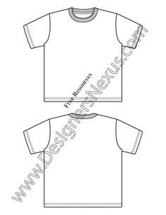 Womens And Mens TShirt Fashion Flat Templates Pinterest - T shirt template illustrator