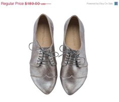 EASTER SALE Silver oxford shoes, Polly Jean, made to order, handmade, flats, leather shoes, by Tamar Shalem on etsy