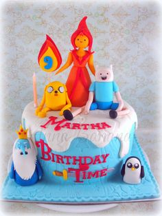 Adventure Time birthday cake. Ethan would love this!