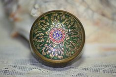 Beautiful detail on this Vintage Sterling Enamel Floral Pill Box, starting at $10.