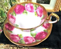 ROYAL ALBERT CROWN CHINA TEA CUP AND SAUCER CABBAGE ROSES PATTERN TEACUP
