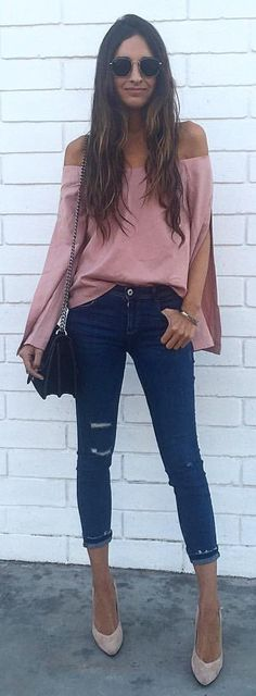 #summer #outfits Pink Off The Shoulder Top + Navy Ripped Skinny Jeans