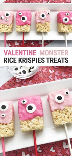 valentines day treats This cute halfway homemade monster Valentine Rice Krispie Treats recipe is the perfect Valentines Day party kids treat! The Rice Krispies Treats are store-bought, so you can make these quick and easy! Valentines Day Food, Homemade Valentines, Valentine Treats, Valentines For Kids, Valentines Day Decor Classroom, Valentine Chocolate, Valentines Day Party, Holiday Treats, Rice Krispy Treats Recipe