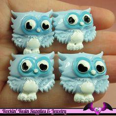 4 pcs Blue OWL Resin Flatback Decoden Kawaii by RockinResin, $3.95