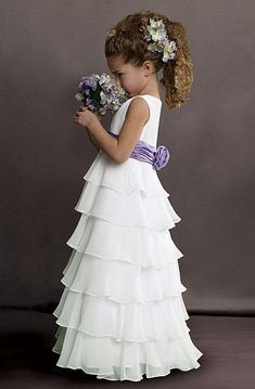 Sweet Beginnings Tiered Chiffon Flower Girls Dress L503 at frenchnovelty.com