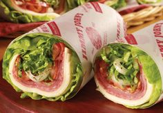 Unwich: Obsessed with these things. No bread. Picture a burrito but instead of tortilla, it's lettuce wrapped around your favorite sandwich fillings. Mine are meatless of course