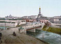 Большой Лопанский мост и панорама Нагорного района города. Между 1890 и 1905