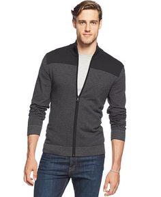 Alfani RED Striped Full-Zip Slim-Fit Cardigan Sweater - Sweaters - Men - Macy's Size MEDIUM