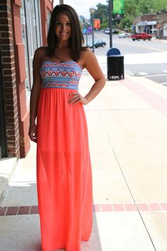 Neon Aztec Tube Dress {Pink}. I'm not a fan of pink by this is more coral. Want it!