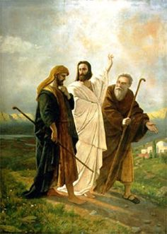 """Jesus Appears to the Two. BIBLE SCRIPTURE: Luke """"And it came to pass, that, while they communed together and reasoned, Jesus himself drew near, and went with them. Pictures Of Jesus Christ, Religious Pictures, Bible Pictures, Religious Art, Christian Images, Christian Art, Lucas 24, Road To Emmaus, Bible Illustrations"""