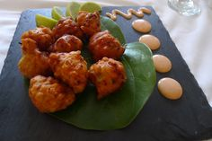 Conch fritters with island fresh tomato salsa and smoked paprika aioli Seafood Dishes, Seafood Recipes, Cooking Recipes, Bahamian Food, Great Recipes, Favorite Recipes, Dinner Recipes, Conch Fritters, Caribbean Recipes